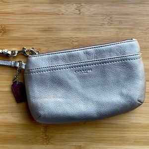 Brand New Coach Wristlet in Silver Leather